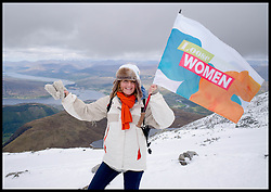 Image ©Licensed to i-Images Picture Agency. 30/05/2015. Fort William, Scotland,United Kingdom. Loose Women Stars L to R Kaye Adams reaches near the top of Ben Nevis at 1150 metres, for Climb with Ed in connection with the charity Children with Cancer. Picture by Andrew Parsons / i-Images