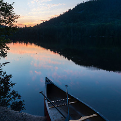A canoe at Perch Pond in Aroostook County, Maine. Deboullie Public Reserve Land.