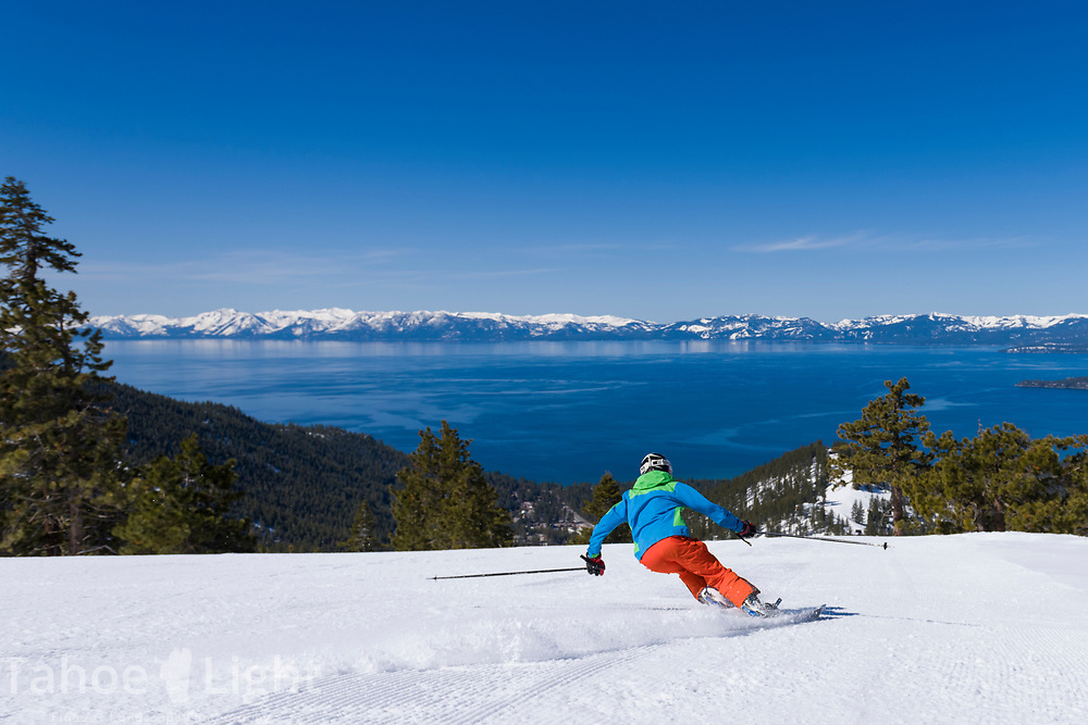 Spring skiing Diamond Peak Ski Resort in Incline Village. The best views of Lake Tahoe while skiing.
