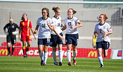 LLANELLI, WALES - Thursday, August 22, 2013: England's Bethany Mead celebrates scoring the third goal against Wales during the Group A match of the UEFA Women's Under-19 Championship Wales 2013 tournament at Parc y Scarlets. (Pic by David Rawcliffe/Propaganda)