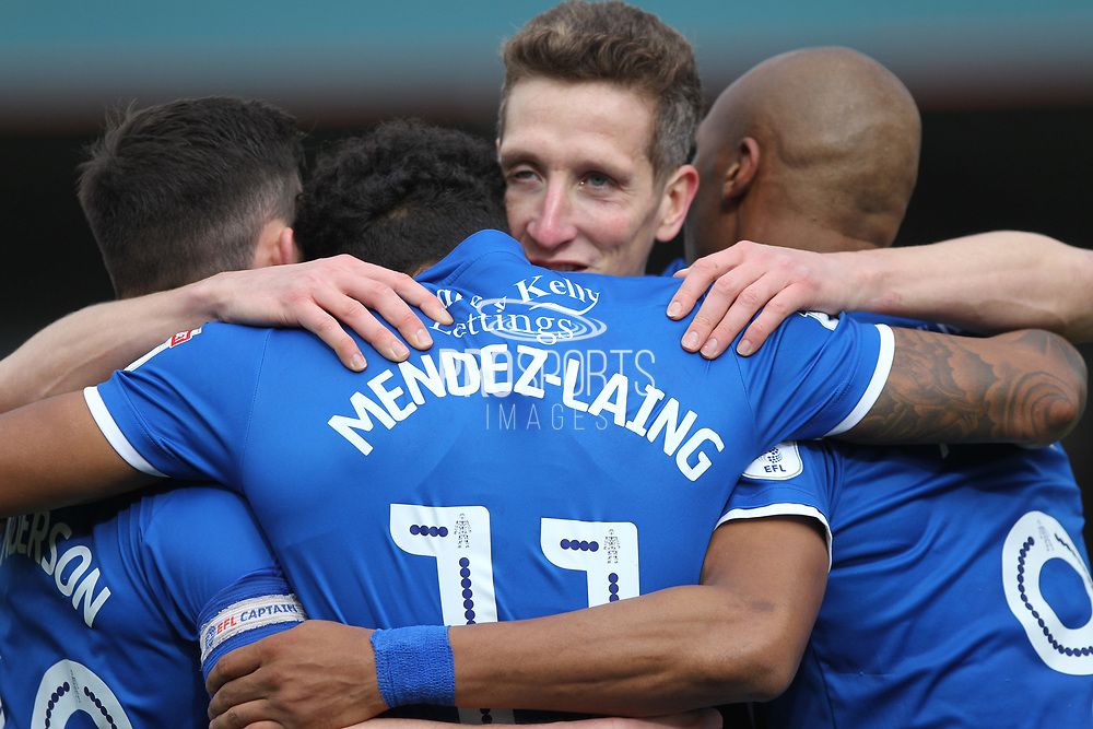 GOAL Nathaniel Mendez-Laing celebrates scoring 1-0  during the EFL Sky Bet League 1 match between Rochdale and Northampton Town at Spotland, Rochdale, England on 1 April 2017. Photo by Daniel Youngs.
