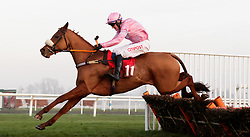Eddiemaurice ridden by Nick Scholfield jumps the last on the way to winning The 32red Download The App Handicap Hurdle during day two of 32Red Winter Festival at Kempton Park Racecourse.