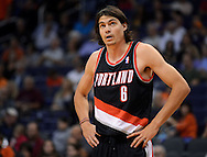 Oct. 12, 2012; Phoenix, AZ, USA; Portland Trail Blazers forward Adam Morrison (6) reacts on the court during the game against the Phoenix Suns in the second half at US Airways Center. The Suns defeated the Trail Blazers 104-93. Mandatory Credit: Jennifer Stewart-US PRESSWIRE