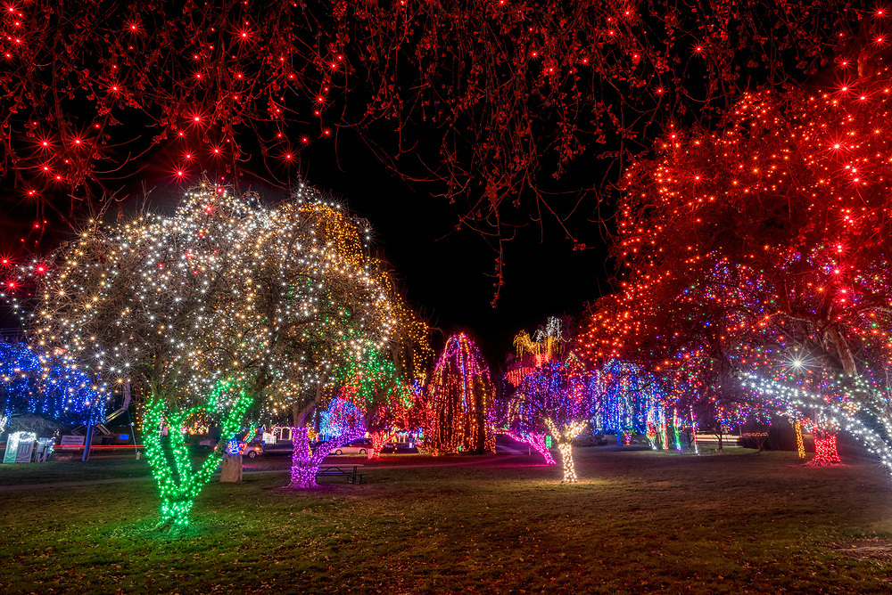 Winter Spirit Christmas lights display in Lewiston, Idaho's Locomotive Park.