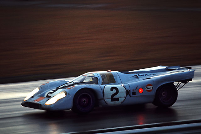 Winning Porsche 917K negotiates Sunday morning rain shower at the 1971 Daytona 24 Hour race.