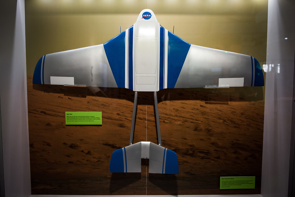 """30206010A - DRONES - A model of a potential future NASA Mars flyer drone at the """"Drones: Is the Sky the Limit?"""" exhibit at the Intrepid Sea, Air, and Space Museum in New York, NY on May 9, 2017."""