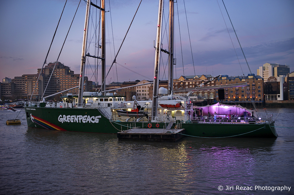 UK ENGLAND LONDON 10NOV11 - Preparations are made on the new Rainbow Warrior III for a concert by Damon Albarn and Clash founder Paul Simonon's band The Good, The Bad and The Queen. .....The concert on the Thames near Tower Bridge is to celebrate 40 years of Greenpeace. ..The Rainbow Warrior - the third Greenpeace ship to take the name - is a cutting edge sailing vessel currently on its maiden voyage......jre/Photo by Jiri Rezac / Greenpeace......© Jiri Rezac 2011
