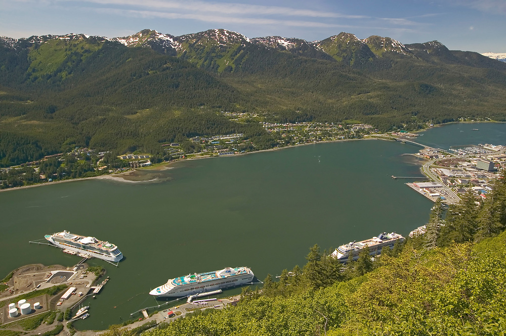 USA, Alaska, Inside Passage, Juneau, cruise ship terminal and downtown with Douglas Island in background as seen from Mt Roberts