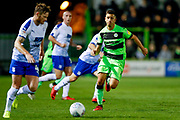 Forest Green Rovers midfielder Lloyd James (4) looks to close the Tranmere Rovers defender down during the EFL Sky Bet League 2 match between Forest Green Rovers and Tranmere Rovers at the New Lawn, Forest Green, United Kingdom on 23 October 2018.