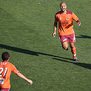 Sergio Van Dijk celebrates after scoring Brisbane's second goal during the Central Coast Mariners V Brisbane Roar A-League match at Bluetongue Stadium, Gosford, Australia, 19 December 2009. Photo Tim Clayton