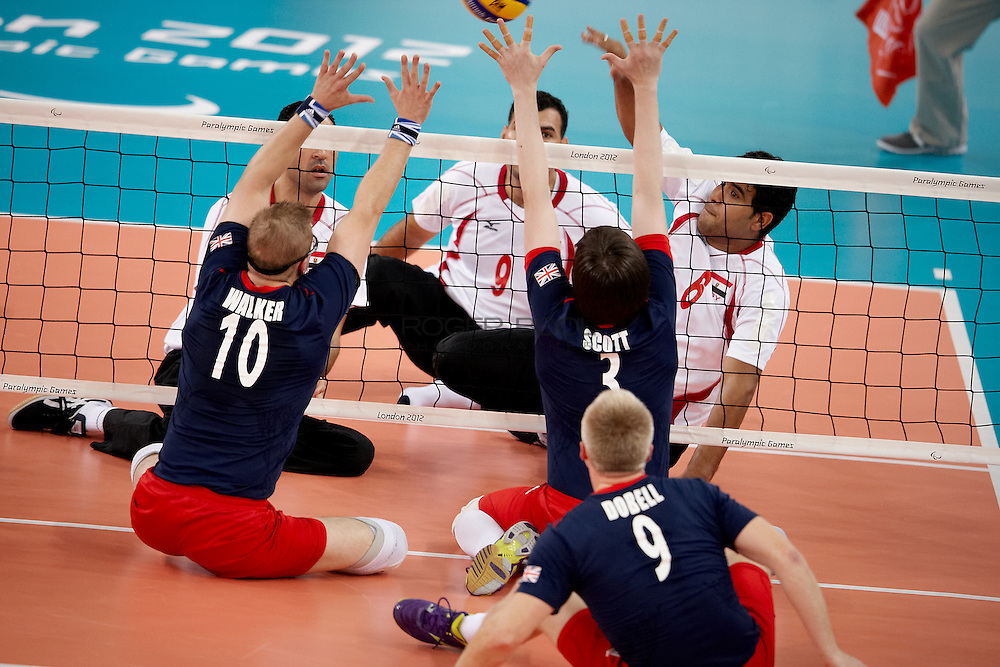 Sam Scott and the Great Britain Men's sitting volleyball team loose to  Egypt at the Excel centre on day 2 of the London 2012 Paralympic Games. 31st August 2012