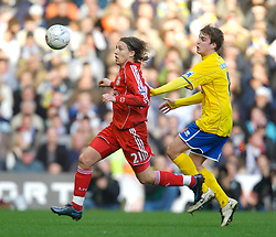 LIVERPOOL, ENGLAND - Saturday, January 26, 2008: Liverpool's Lucas Levia and Havant and Waterlooville's Jamie Collins during the FA Cup 4th Round match at Anfield. (Photo by David Rawcliffe/Propaganda)