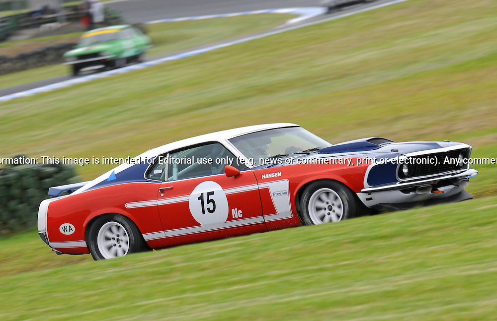 Darryl Hansen - Group Nc - Ford Mustang.Historic Motorsport Racing - Phillip Island Classic.18th March 2011.Phillip Island Racetrack, Phillip Island, Victoria.(C) Joel Strickland Photographics.Use information: This image is intended for Editorial use only (e.g. news or commentary, print or electronic). Any commercial or promotional use requires additional clearance.