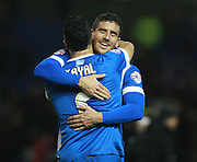 Brighton striker Tomer Hemed celebrates with Beram Kayal after scoring the winning goal during the Sky Bet Championship match between Brighton and Hove Albion and Charlton Athletic at the American Express Community Stadium, Brighton and Hove, England on 5 December 2015. Photo by Bennett Dean.