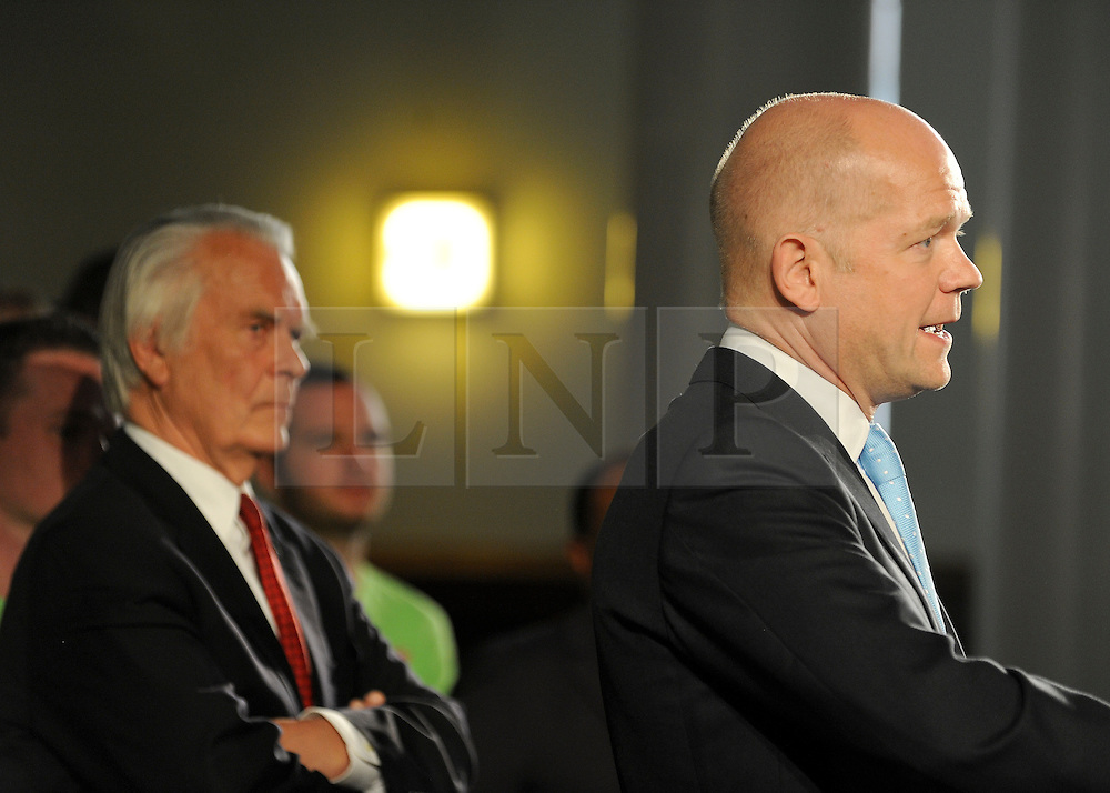 © under license to London News Pictures. LONDON, UK  03/05/2011. Lord Owne watches Foreign Secretary William Hague addresse the Rally. William Hague, Lord Owen, Theresa May, Paul Boateng, John Healey and James Cracknell at a rally urging support for a NO vote held at The Methodist Hall in Central London this morning (03 May 2011). The Rally was to urge people to vote in favour of a NO vote at the forth coming AV Referendum. Photo credit should read Stephen Simpson/LNP.