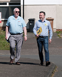 The SNP were campaigning in Livingston today ahead of the EU elections on 23rd May 2019.<br /> <br /> Alyn Smith MEP was joined by Hannah Bardell MP and volunteers going round talking to local households.<br /> <br /> Pictured: Election agent Greg McCarra and Alyn Smith MEP <br /> <br /> Alex Todd | Edinburgh Elite media