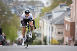 Kelly Druyts of Topsport Vlaanderen Etixx Cycling Team digs deep on the first climb of the 2.8km time trial prologue of Elsy Jacobs - a stage race in Luxembourg in Luxembourg on April 29, 2016 in Luxembourg.