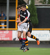 Dundee&rsquo;s Cammy Kerr competes in the air with Alloa Athletic&rsquo;s Steven Hetherington - Alloa Athletic v Dundee, pre-season friendly at Recreation Park, Alloa<br /> <br />  - &copy; David Young - www.davidyoungphoto.co.uk - email: davidyoungphoto@gmail.com