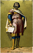 Pepin le Gros or Pepin d'Heristal (d714). ssumed royal power c680.  Father of Charles Martel. Late 19th centry chromolithograph