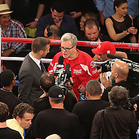 Winning trainer Freddie Roach talks to the media after Miguel Cotto of Puerto Rico defeated Delvin Rodriguez of the Dominican Rebublic  in a 12-round super welterweight bout at the Amway Center in Orlando, Florida on Saturday, October 5, 2013. Cotto won by knockout in the 3rd round of the match.(Photo/Alex Menendez)