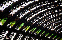 Milan, Italy - train station, domed glass and metal ceiling.