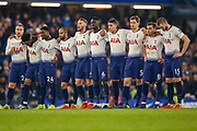 Tottenham players line up ahead of penalties to decide the tie during the EFL Cup semi final second leg match between Chelsea and Tottenham Hotspur at Stamford Bridge, London, England on 24 January 2019.