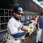 Matt Kemp, San Diego Padres, in the dugout preparing to bat during the New York Mets Vs San Diego Padres MLB regular season baseball game at Citi Field, Queens, New York. USA. 29th July 2015. Photo Tim Clayton
