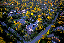 Aerial view of a residential neighborhood in Houston, Texas.