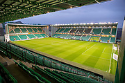 General view inside Easter Road Stadium, Edinburgh, Scotland before the Ladbrokes Scottish Premiership match between Hibernian FC and Rangers FC on 8 March 2019.