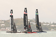 The Great Sound, Bermuda. 12th June 2017.  Artemis Racing tune up with Oracle Team USA and Soft Bank Team Japan before their . Final day of the Louis Vuitton America's Cup Challenger playoff finals against Emirates Team New Zealand. ETNZ start the day ahead 4 - 2, needing one win to become Challenger for the America's.Cup.