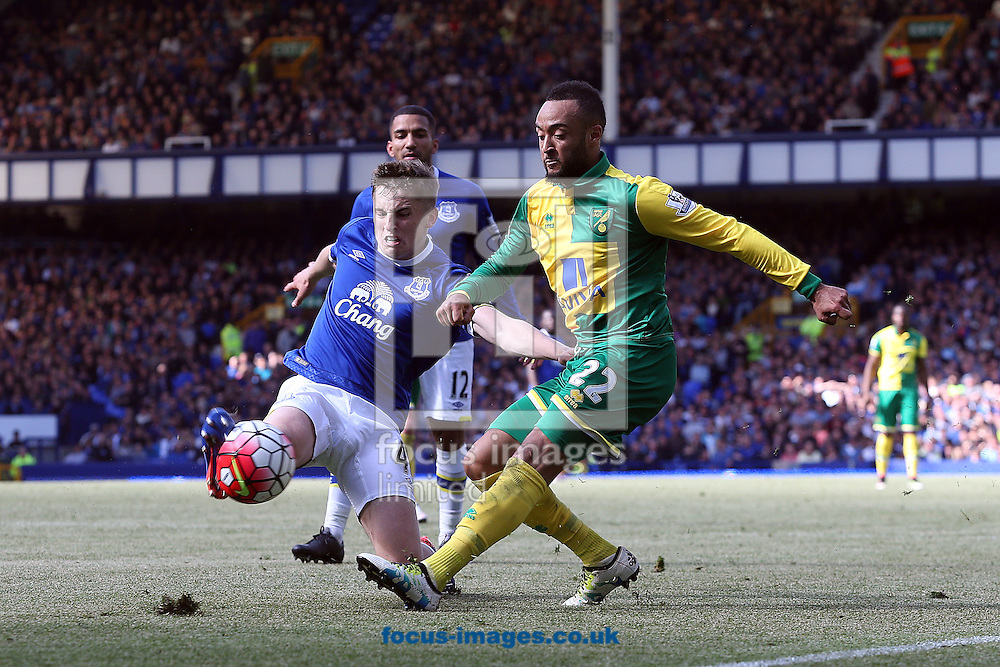 Jonjoe Kenny of Everton and Nathan Redmond of Norwich in action during the Barclays Premier League match at Goodison Park, Liverpool<br /> Picture by Paul Chesterton/Focus Images Ltd +44 7904 640267<br /> 15/05/2016