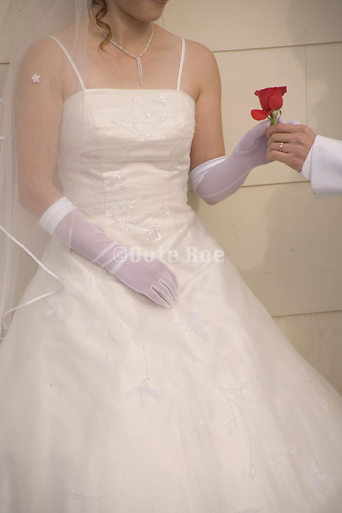 groom giving the bride a red rose
