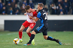 February 14, 2019 - Brugge, BELGIUM - Salzburg's Hannes Wolf and Club's Mats Rits fight for the ball during a soccer game between Belgian team Club Brugge KV and Austrian club FC Red Bull Salzburg, the first leg of the 1/16 finals (round of 32) in the Europa League competition, Thursday 14 February 2019 in Brugge. BELGA PHOTO KURT DESPLENTER (Credit Image: © Kurt Desplenter/Belga via ZUMA Press)