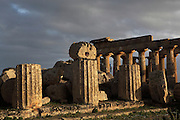 Temple F and in the background, Eastern Temple E, with Doric columns, dedicated to Hera or Dionysus, 6th-5th century BC Greek, Selinunte, Sicily, Italy. Picture by Manuel Cohen