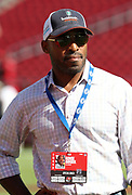 Nov 25, 2018; Tampa, FL, USA; Former Tampa Bay Buccaneers cornerback Ronde Barber on the field before an NFL game between the Tampa Bay Buccaneers and the San Francisco 49ers at Raymond James Stadium. The Buccaneers beat the 49ers 27-9. (Steve Jacobson/Image of Sport)