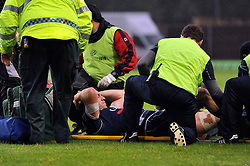 Ryan Jones (Bristol) prepares to be stretchered from the field because of injury in the first half - Photo mandatory by-line: Patrick Khachfe/JMP - Tel: Mobile: 07966 386802 28/05/2014 - SPORT - RUGBY UNION - Kassam Stadium, Oxford - London Welsh v Bristol Rugby - Greene King IPA Championship.