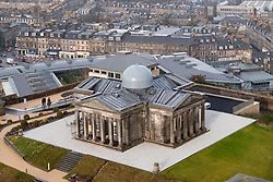 Edinburgh, Scotland, UK. 21 November, 2018. The historic City Observatory on Calton Hill will reopen as The Collective, an arts organisation and will feature the restored City Observatory, City Dome, and a purpose-built exhibition space as well as The Lookout , a new restaurant run by The Gardener's Cottage owners. It opens to the public on 24 November, 2018. View of The Collective with City Observatory in centre.