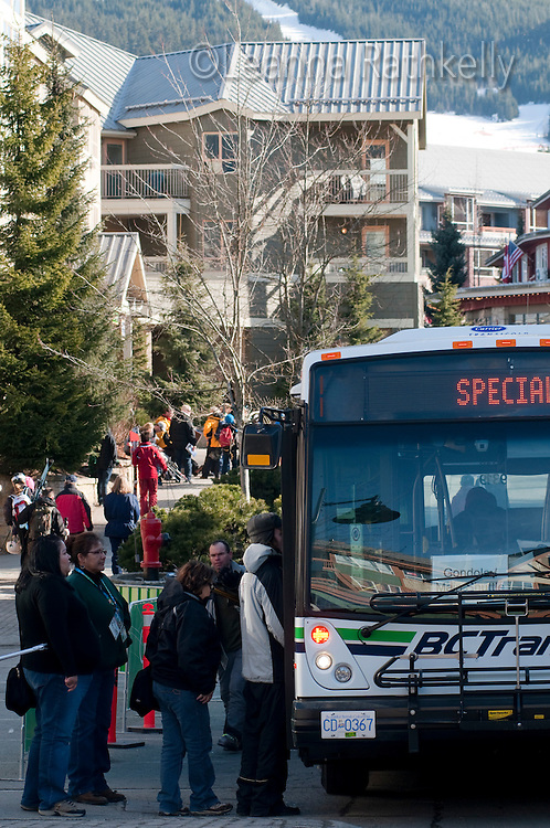 Buses transport people to venues during the 2010 Olympic Winter Games in Whistler, BC Canada.