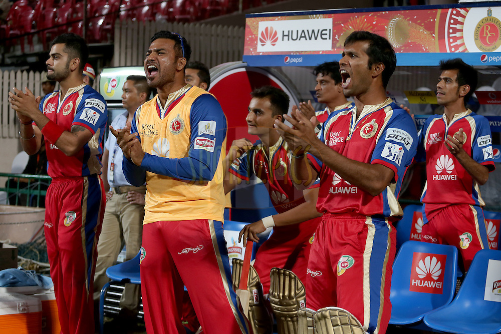RCB players celebrate their victory during match 24 of the Pepsi Indian Premier League Season 2014 between the Royal Challengers Bangalore and the Sunrisers Hyderabad held at the M. Chinnaswamy Stadium, Bangalore, India on the 4th May 2014. Photo by Jacques Rossouw / IPL / SPORTZPICS<br /> <br /> <br /> <br /> Image use subject to terms and conditions which can be found here:  http://sportzpics.photoshelter.com/gallery/Pepsi-IPL-Image-terms-and-conditions/G00004VW1IVJ.gB0/C0000TScjhBM6ikg