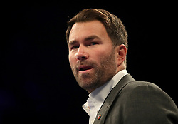 Eddie Hearn, boxing promoter for Anthony Crolla and Tony Bellew at Manchester Arena.