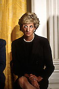 Princess Diana attends a White House event September 24, 1996 in Washington, DC. The ladies were guests of US First Lady Hillary Clinton at a fund-raising breakfast to aid cancer research.