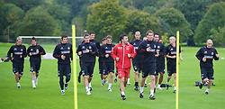 CARDIFF, WALES - Friday, September 5, 2008: Wales' assistant coach Dean Saunders and Sam Vokes during training at Vale of Glamorgan Hotel ahead of the second 2010 FIFA World Cup South Africa Qualifying Group 4 match against Russia. (Photo by David Rawcliffe/Propaganda)