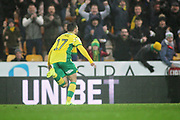 Norwich City midfielder Emi Buendía (17) celebrates his goal during the EFL Sky Bet Championship match between Norwich City and Swansea City at Carrow Road, Norwich, England on 8 March 2019.