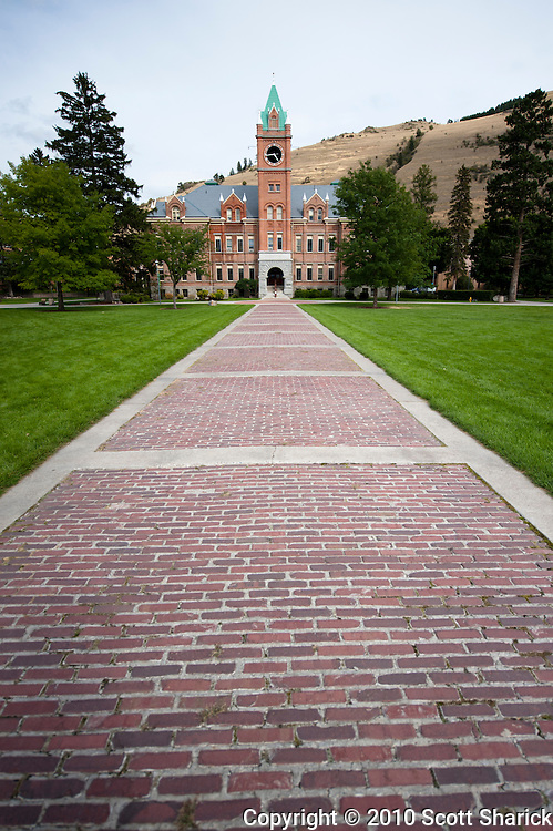 A brick walkway leads to a building on a college campus. Missoula Photographer, Missoula Photographers, Montana Pictures, Montana Photos, Photos of Montana