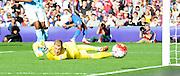 Joe Hart watches a Palace effort creep just wide during the Barclays Premier League match between Crystal Palace and Manchester City at Selhurst Park, London, England on 12 September 2015. Photo by Michael Hulf.