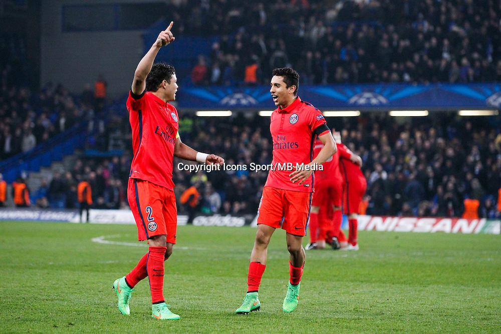 Joie PSG - Thiago SILVA / MARQUINHOS - 11.03.2015 - Chelsea / Paris Saint Germain - 1/8Finale Champions League<br />Photo : Johnny Fidelin / Icon Sport