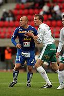 22.05.2006, Ratina, Tampere, Finland..Veikkausliiga 2006 - Finnish League 2006.Tampere United - IFK Mariehamn.Ville Lehtinen (TamU) v Peter Blomberg (IFKM).©Juha Tamminen.....ARK:k