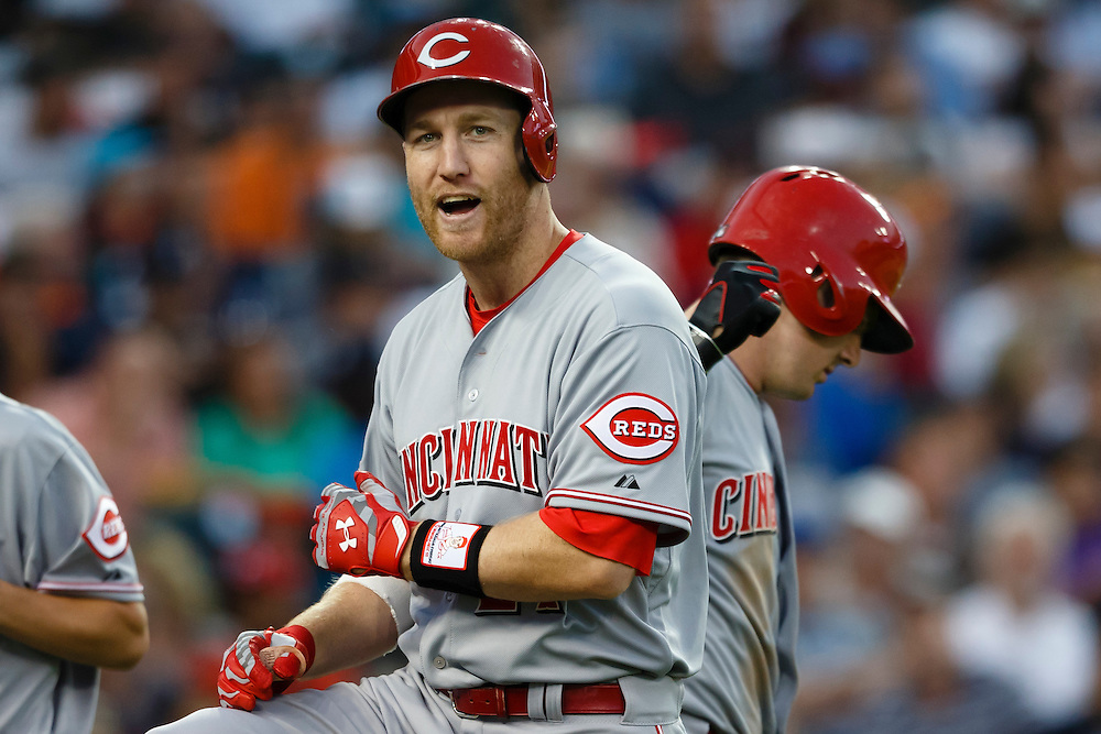 Jun 16, 2015; Detroit, MI, USA; Cincinnati Reds third baseman Todd Frazier (21) receives congratulations from designated hitter Jay Bruce (32) after he hits a home run in the seventh inning against the Detroit Tigers at Comerica Park. Mandatory Credit: Rick Osentoski-USA TODAY Sports