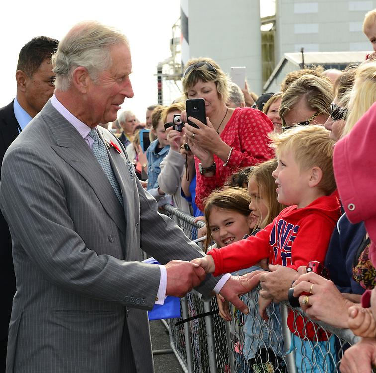 Prince Charles, Prince of Wales on his public walkabout in Westport, New Zealand, Saturday, November 07, 2015. Credit:SNPA / Westport News, Sheree Cargill