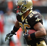 MORNING JOURNAL/DAVID RICHARD.Running back Deuce McAllister of New Orleans finds the open field yesterday against the Browns.
